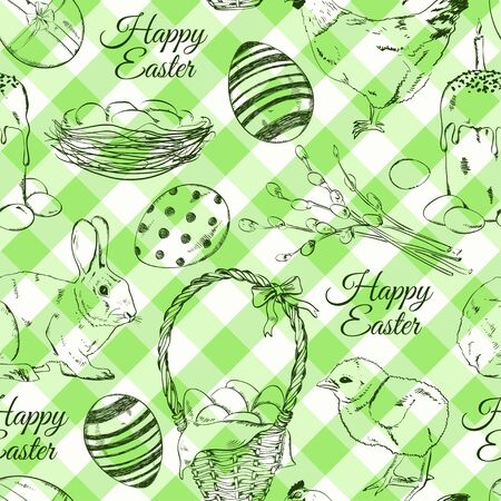 Seamless pattern of sketch Easter symbols and greeting text on a green tartan background Vector