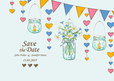 garden party: Wedding invitation with rustic decoration of hanging mason jars, flowers, candles and garlands. Save the date concept
