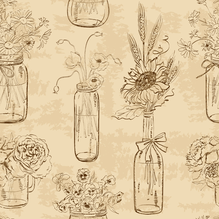 floral bouquet: Retro seamless pattern of sketch mason jars with flowers
