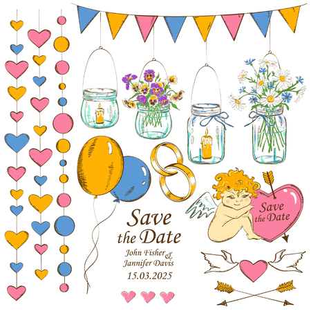 Colorful set of isolated sketch wedding decoration design elements Vector