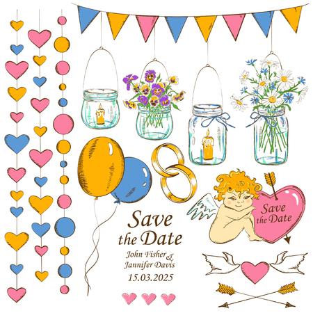 decoracion boda: Colorido conjunto de aislados boda bosquejo elementos de decoraci�n de dise�o