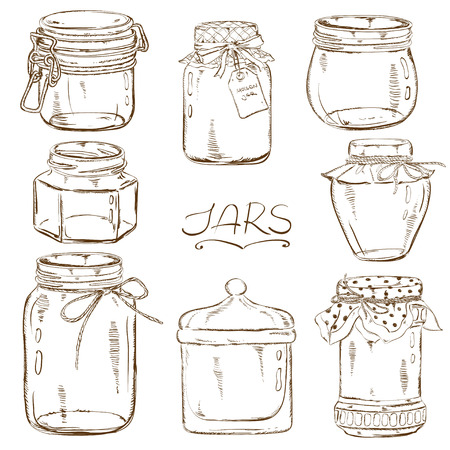Set of isolated sketch mason jars Vector
