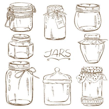 Set van geïsoleerde schets metselaar kruiken