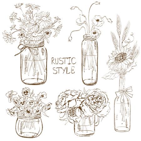 Schets set van geïsoleerde metselaar potten en fles met bloemen. Bruiloft, verjaardag, douche partij ontwerp decoratie-elementen