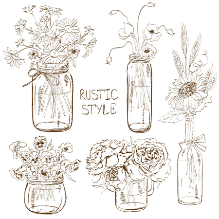 flower sketch: Sketch set of isolated mason jars and bottle with flowers. Wedding, birthday, shower party design decoration elements