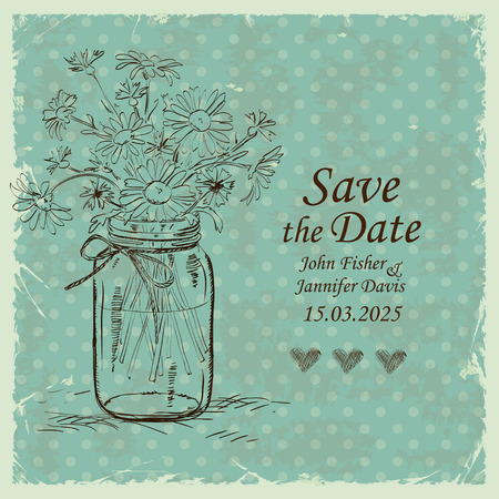 Retro wedding invitation with mason jar and camomile flowers on a polka dot background. Save the date concept.