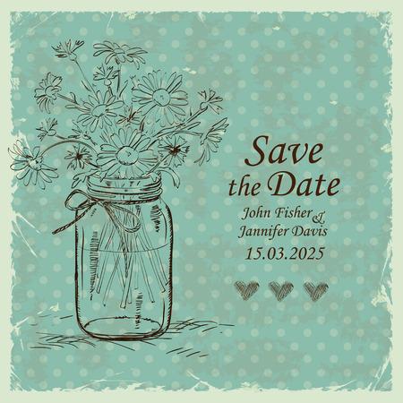 Retro trouwkaart met metselaar pot en kamille bloemen op een polka dot achtergrond. Sparen de datum concept. Stock Illustratie