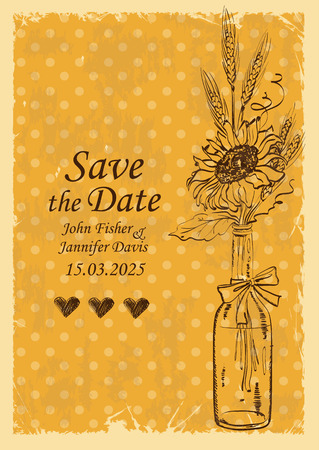 sunflower: Retro wedding invitation with mason jar and sunflower on a polka dot background. Save the date concept