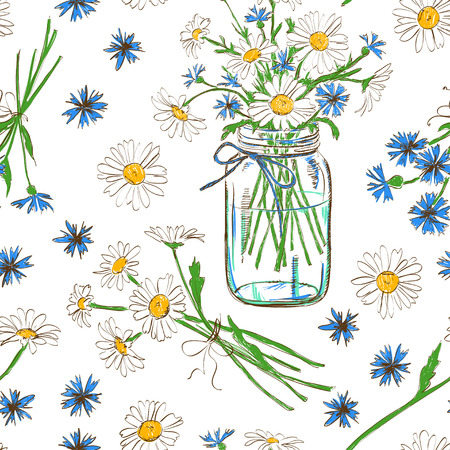 Rustic seamless pattern with chamomile, cornflowers and mason jar