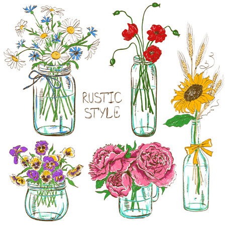 Colorful set of isolated mason jars and bottle with flowers. Wedding, birthday, shower party design decoration elements Çizim
