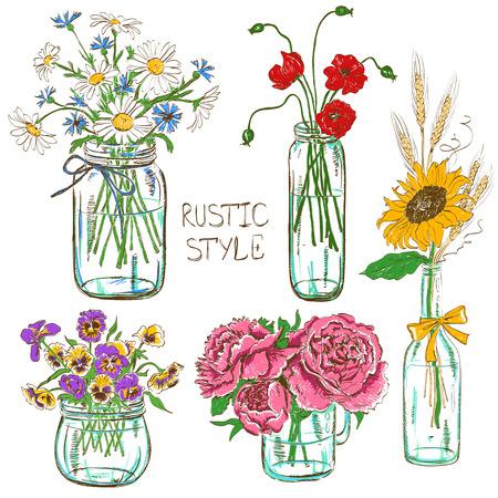 ramo de flores: Colorido conjunto de tarros de cristal aislado y una botella con flores. Bodas, cumplea�os, elementos de decoraci�n de dise�o partido de la ducha