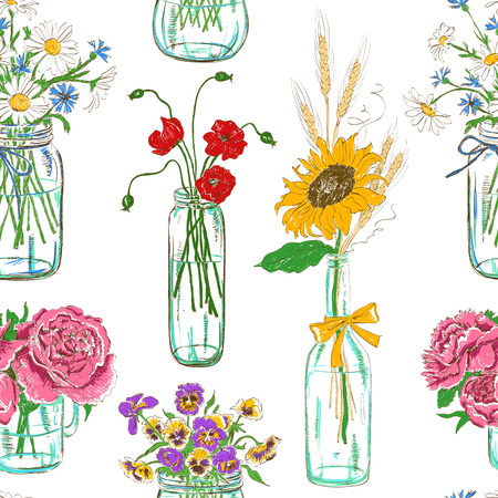 Colorful seamless pattern of sketch mason jars with flowers