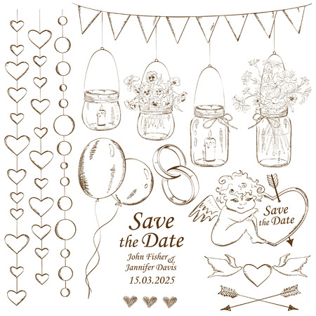 Set of isolated sketch wedding decoration design elements
