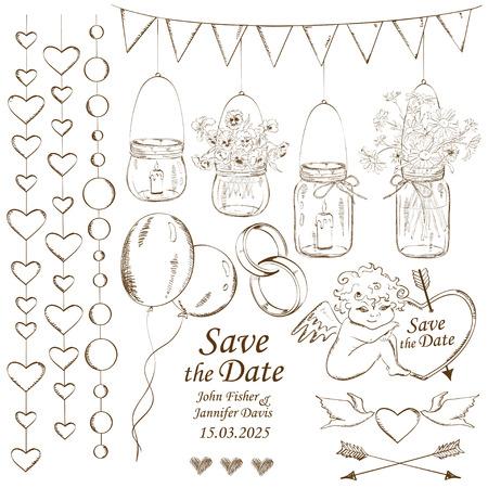 Set van geïsoleerde schets bruiloft decoratie elementen