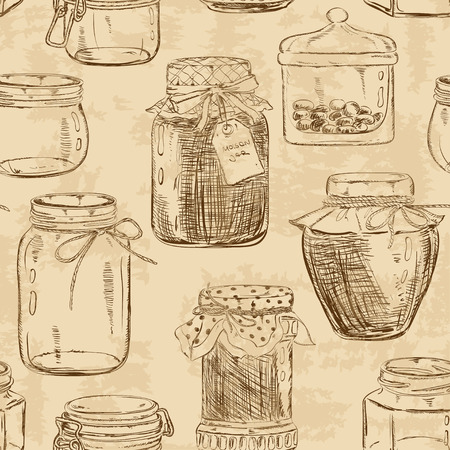 Retro seamless pattern of sketch mason jars Vector