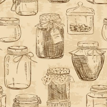 can food: Retro seamless pattern of sketch mason jars Illustration