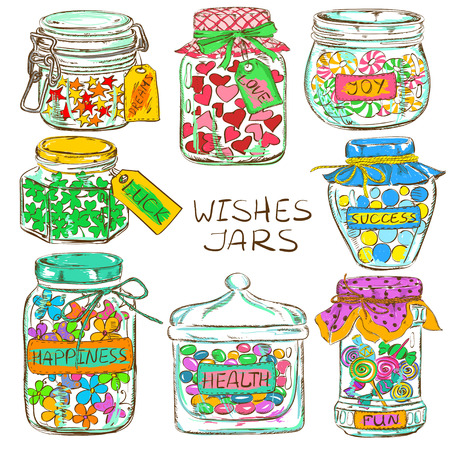 confiture: Cartoon set of isolated colorful mason jars with funny greeting wishes. Birthday party design elements.