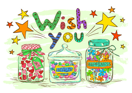 confiture: Birthday greeting card with cartoon mason jars and funny wishes