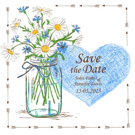 frasco: Invitaci�n de la boda con el tarro de alba�il, flores de manzanilla y el coraz�n l�piz. Excepto la fecha.
