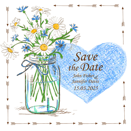 Wedding invitation with mason jar, camomile flowers and pencil heart. Save the date concept. Vector