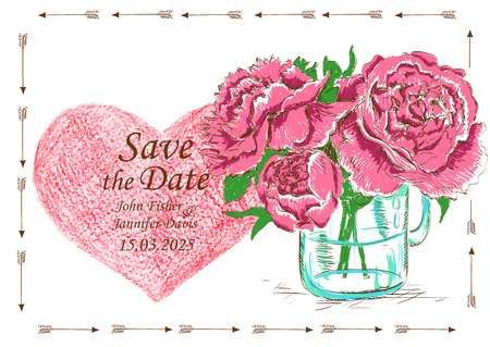 mason: Wedding invitation with mason jar, peony flowers and pencil heart. Save the date concept. Illustration
