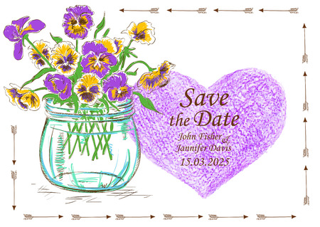 pansy: Wedding invitation with mason jar, pansy flowers and pencil heart. Save the date concept.