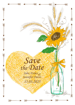 flower in vase: Wedding invitation with mason jar, sunflower, wheat and pencil heart. Save the date concept.