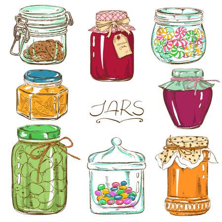 Kleurrijke verzameling van geïsoleerde metselaar potten met jam, honing, koekjes, confituur, ingeblikte olijven en snoep