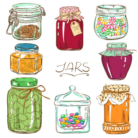 Colorful set of isolated mason jars with jam, honey, cookies, confiture, canned olives and sweets