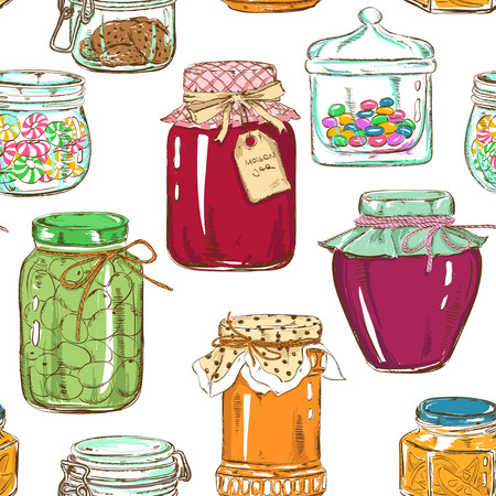 confiture: Colorful seamless pattern of mason jars with jam, honey, cookies, confiture, canned olives and sweets Illustration