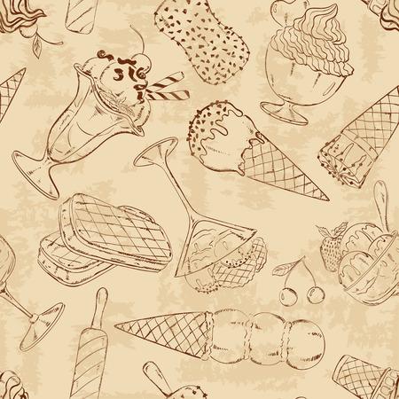 アイスクリームのレトロな抽象スケッチ シームレス パターン