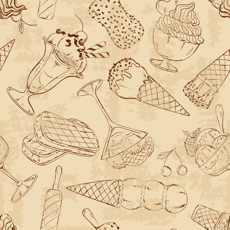 Retro abstract sketch seamless pattern of ice cream