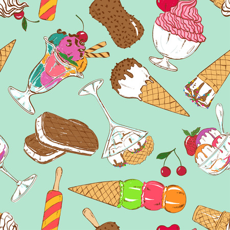 helado caricatura: Modelo incons�til del dibujo abstracto de helado colorido de dibujos animados sobre un fondo azul