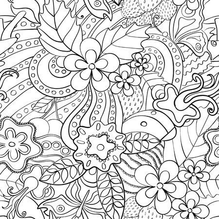 Abstract psychedelic seamless pattern. Black and white summer floral background.
