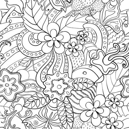 wzorek: Abstrakcyjne psychodeliczny szwu. Czarno-białe letnich kwiatów w tle.