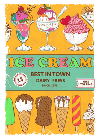 cartoon ice cream: Retro colorful cartoon ice cream poster design, menu, flyer or advertising Illustration