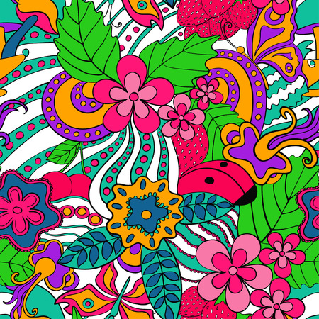 flower sketch: Abstract psychedelic seamless pattern. Colorful summer floral background.