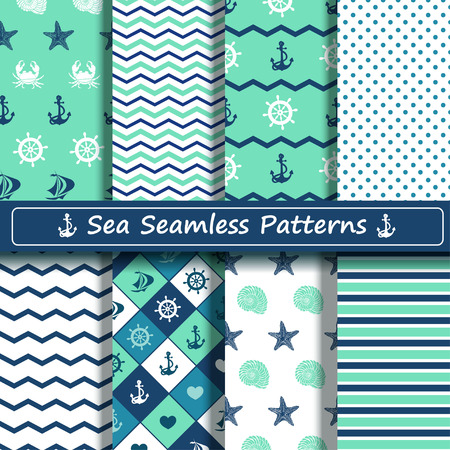 Set of blue, turquoise and white sea seamless patterns. Scrapbook design elements. All patterns are included in swatch menu. Vector