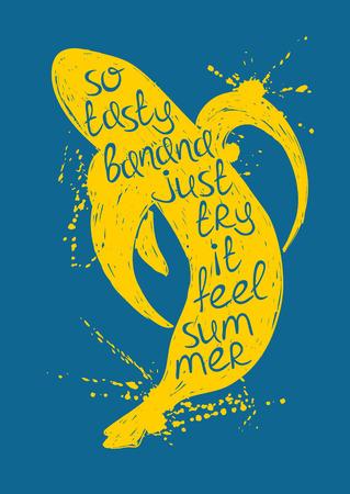 comiendo platano: Dibujado a mano ilustraci�n de la silueta aislado amarillo pl�tano fruta sobre un fondo azul. Cartel de la tipograf�a con el lema creativo. Vectores