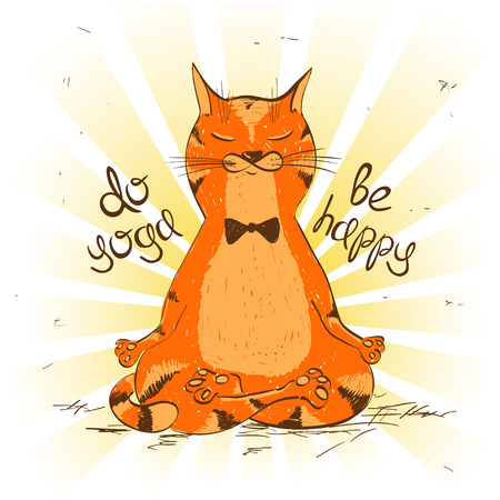 Funny illustration with cartoon red cat sitting on lotus position of yoga. Çizim
