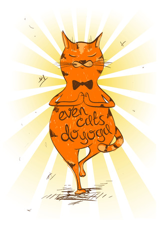 Funny illustration with cartoon red cat doing tree position of yoga.