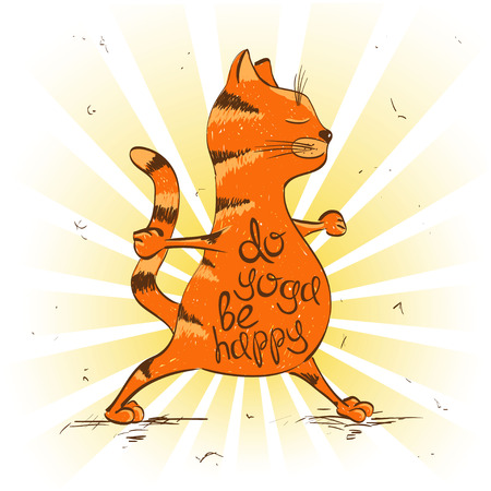 Funny illustration with cartoon red cat doing warrior position of yoga.
