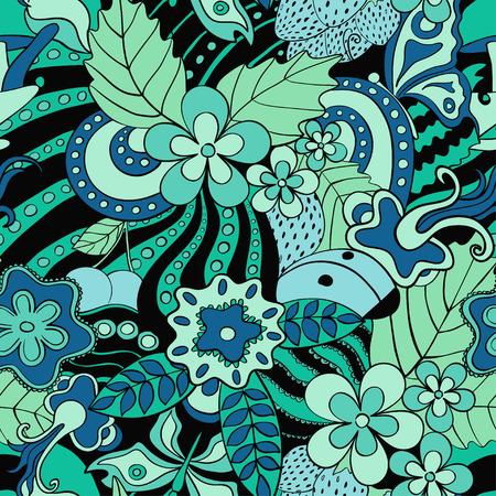black and blue: Abstract psychedelic seamless pattern. Black blue green summer floral background. Illustration