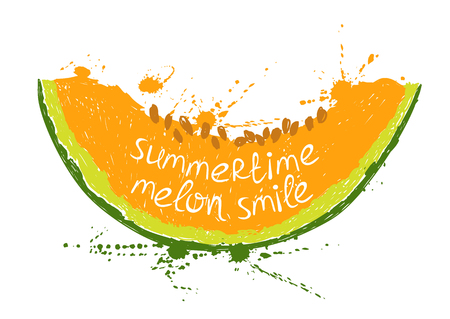 melon fruit: Hand drawn illustration with isolated orange slice of melon on a white background. Typography poster with creative slogan.