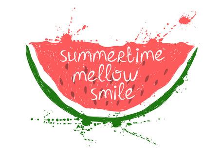 Hand getrokken illustratie met geïsoleerde rood stuk watermeloen op een witte achtergrond. Typografie poster met creatieve slogan. Stock Illustratie