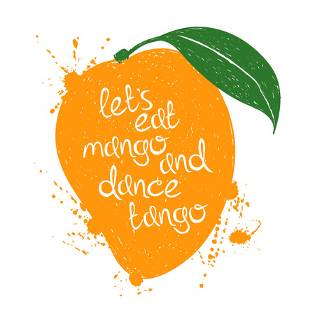 fruit juices: Hand drawn illustration of isolated orange mango fruit silhouette on a white background. Typography poster with creative slogan.