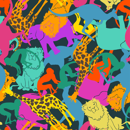 Funny colorful abstract animal silhouettes seamless pattern.