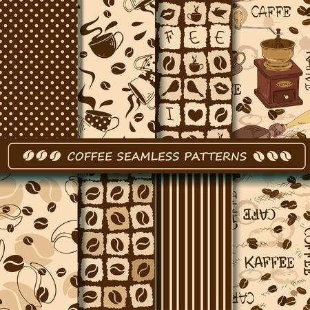 chicchi di caff�: Insieme di caff� seamless. Elementi dell'album. Tutti i modelli sono inclusi nel menu di campione.