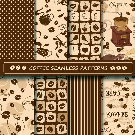 coffee set: Set of coffee seamless pattern. Scrapbook elements. All patterns are included in swatch menu. Illustration