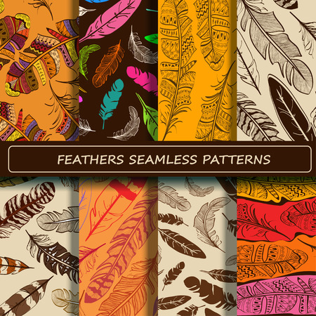 feathery: Set of yellow brown abstract ethnic bird feather seamless pattern. Scrapbook design elements. All patterns are included in swatch menu. Illustration